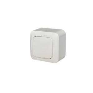 Выключатель 1-клавишный с подсветкой, открытого монтажа, ALFA белый