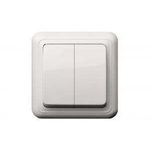Выключатель 2-клавишный, открытого монтажа, DELTA белый