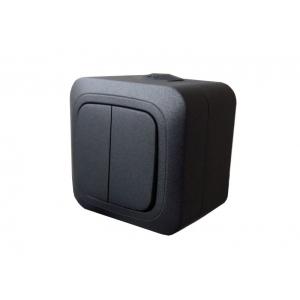 Выключатель 2-клавишный, IP44, открытого монтажа, HERMI черный