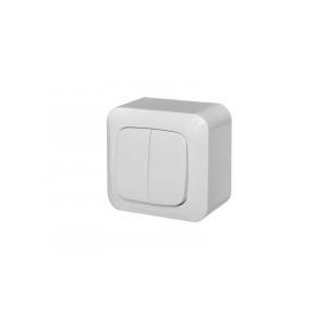 Выключатель 2-клавишный, открытого монтажа, ALFA белый