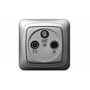 Розетка TV+R+SAT проходная 10 dB, без рамки, ALFA металлик