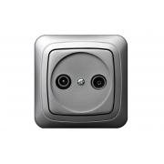 Розетка для ТВ+радио проходная 8db, без рамки, ALFA металлик