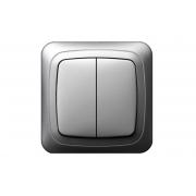 Выключатель 2-клавишный, без рамки, ALFA металлик