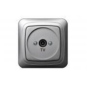 Розетка для ТВ проходная 12 dB, без рамки, ALFA металлик