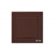 Розетка с заземлением, с крышкой, IP44, без рамки, EPSILON коричневый