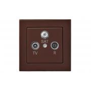 Розетка TV+R+SAT проходная 10 dB, без рамки, EPSILON коричневый