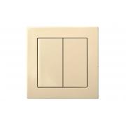 Выключатель 2-клавишный импульсный, пружинные контакты, без рамки, EPSILON песочный