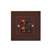 Розетка аудио 2-местная, без рамки, EPSILON коричневый