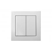 Выключатель 2-клавишный, led-подсветка, без рамки, EPSILON белый