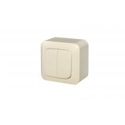 Выключатель 2-клавишный с подсветкой, открытого монтажа, ALFA песочный