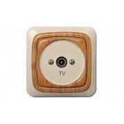 Розетка для ТВ оконечная, без рамки, ALFA дуб
