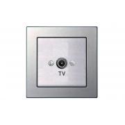 Розетка для ТВ проходная 12 dB, без рамки, EPSILON металлик