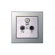 Розетка TV+R+SAT проходная 10 dB, без рамки, EPSILON металлик