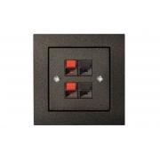 Розетка аудио 2-местная, без рамки, EPSILON антрацит