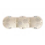 Монтажная коробка (подрозетник) под гипсокартон 60мм 3-местная, белого цвета