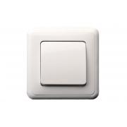 Переключатель 1-клавишный, с рамкой, DELTA белый