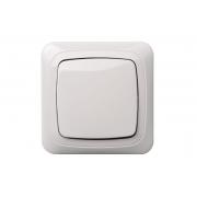 Выключатель 1-клавишный, без рамки, ALFA белый