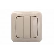 Выключатель 3-клавишный, без рамки, ALFA песочный