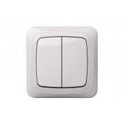 Выключатель 2-клавишный IP44, c рамкой, ALFA белый