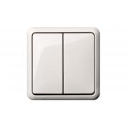 Выключатель 2-клавишный, с рамкой, GAMA белый