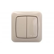 Выключатель 2-клавишный IP44, c рамкой, ALFA песочный