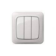 Выключатель 3-клавишный, без рамки, ALFA белый