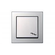 Переключатель 1-клавишный, без рамки, EPSILON металлик
