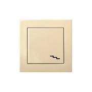 Переключатель 1-клавишный, led-подсветка, пружинные контакты, без рамки, EPSILON песочный