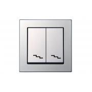 Переключатель 2-клавишный, без рамки, EPSILON металлик