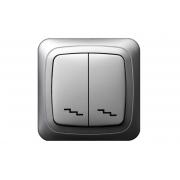 Переключатель 2-клавишный, без рамки, ALFA металлик