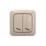 Переключатель 2-клавишный, с рамкой, ALFA песочный