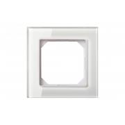 Рамка 1-местная, EPSILON стекло белое глянцевое