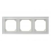 Рамка 3-местная, EPSILON стекло белое матовое