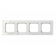 Рамка 4-местная, EPSILON стекло белое глянцевое