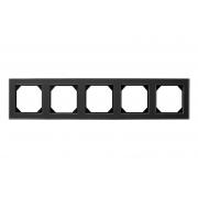 Рамка 5-местная, EPSILON стекло черное матовое
