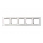 Рамка 5-местная, EPSILON стекло белое глянцевое