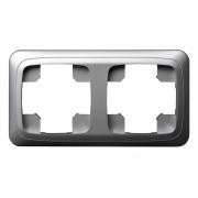 Рамка 2-местная, ALFA металлик