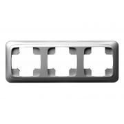 Рамка 3-местная, ALFA металлик