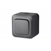 Выключатель 1-клавишный, IP44, открытого монтажа, HERMI черный