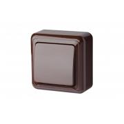 Выключатель 1-клавишный, открытого монтажа, DELTA коричневый