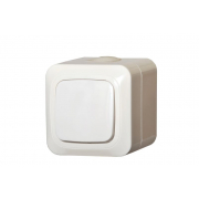 Выключатель 1-клавишный, IP44, открытого монтажа, HERMI белый