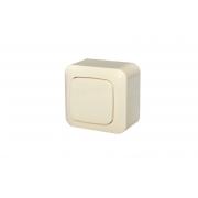 Выключатель 1-клавишный с подсветкой, открытого монтажа, ALFA песочный
