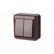 Выключатель 2-клавишный, открытого монтажа, DELTA коричневый