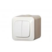 Выключатель 2-клавишный, IP44, открытого монтажа, HERMI белый