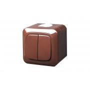 Выключатель 2-клавишный, IP44, открытого монтажа, HERMI коричневый