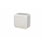 Выключатель 2-клавишный с подсветкой, открытого монтажа, ALFA белый