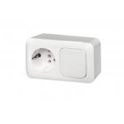 Розетка с заземлением + 1-клавишный выключатель, открытого монтажа, ALFA белый