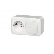 Розетка с заземлением + 2-клавишный выключатель, открытого монтажа, ALFA белый