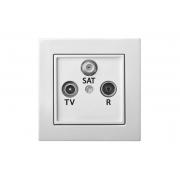 Розетка TV+R+SAT проходная 10 dB, без рамки, EPSILON белый