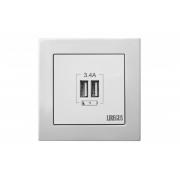 2-местное USB зарядное устройство, без рамки, EPSILON белый